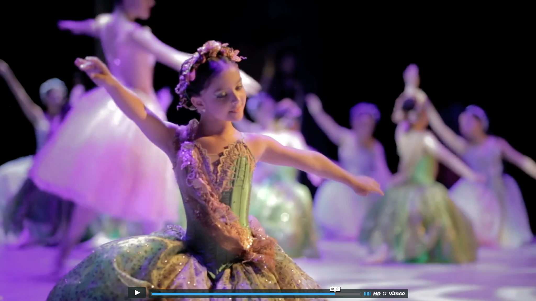 Child dancing during a ballet presentation