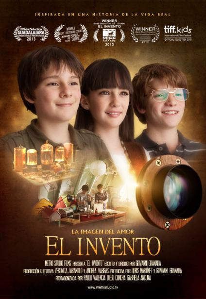 Poster El Invento, three children facing forward with happy expressions.